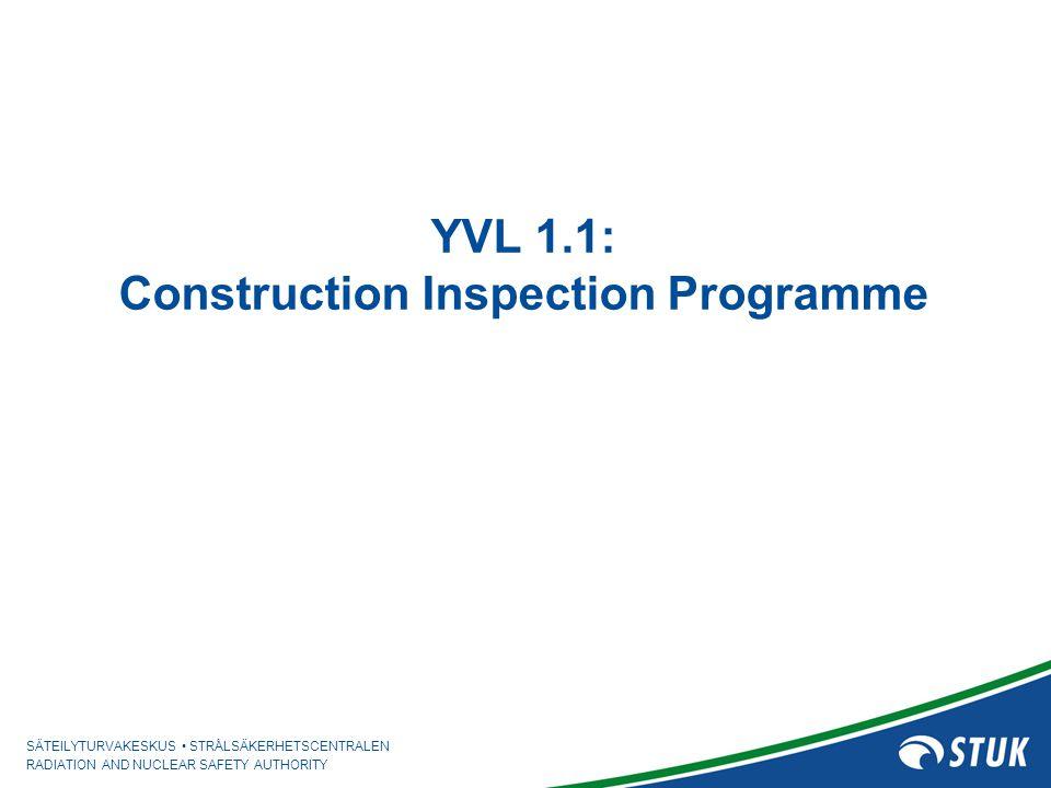 SÄTEILYTURVAKESKUS STRÅLSÄKERHETSCENTRALEN RADIATION AND NUCLEAR SAFETY AUTHORITY YVL 1.1: Construction Inspection Programme