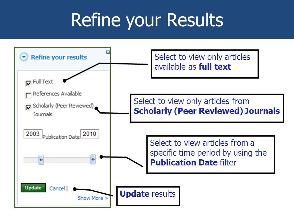 Refine your Results Select to view only articles available as full text Select to view only articles from Scholarly (Peer Reviewed) Journals Select to view articles from a specific time period by using the Publication Date filter Update results