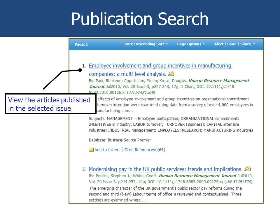 Publication Search View the articles published in the selected issue