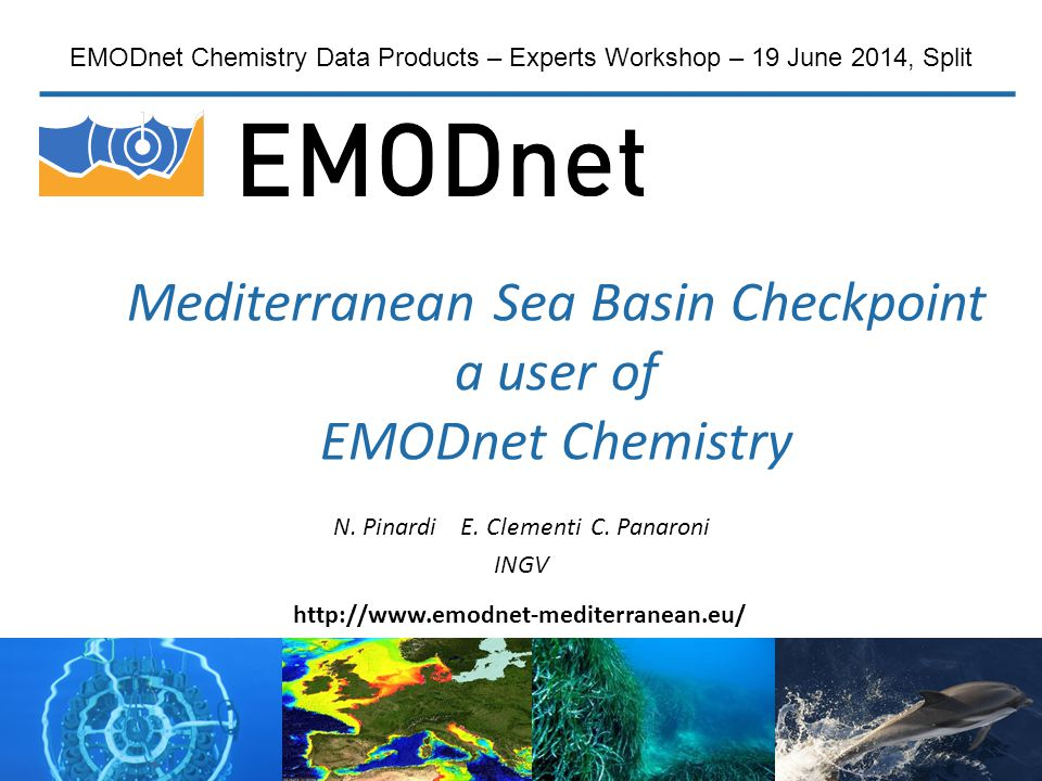 Mediterranean Sea Basin Checkpoint a user of EMODnet Chemistry N. Pinardi E. Clementi C. Panaroni INGV EMODnet Chemistry Data Products – Experts Works