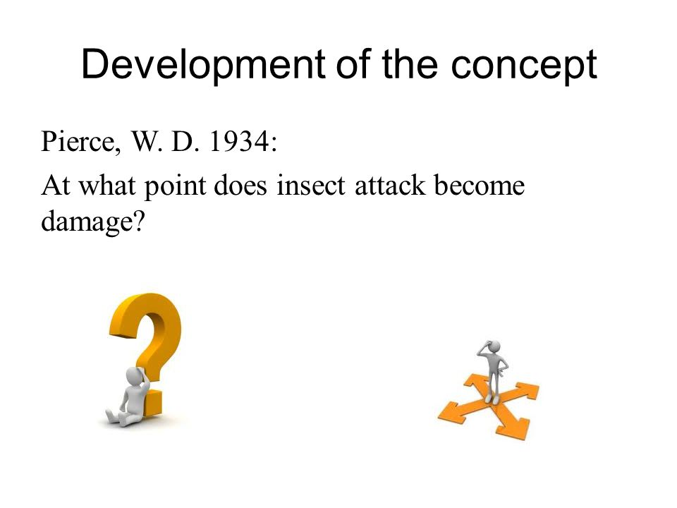 Development of the concept Pierce, W. D. 1934: At what point does insect attack become damage