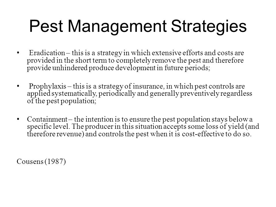 Integrated control—the conceptual foundation of all modern days IPM programs Sophisticated idea of pest control predicted on the complementary action of chemical and biological control 4 basic elements: -Threshold for determining the need for control -Sampling to determine critical densities -Understanding and conserving bio-control capacity of system -Use of selective insecticides when needed