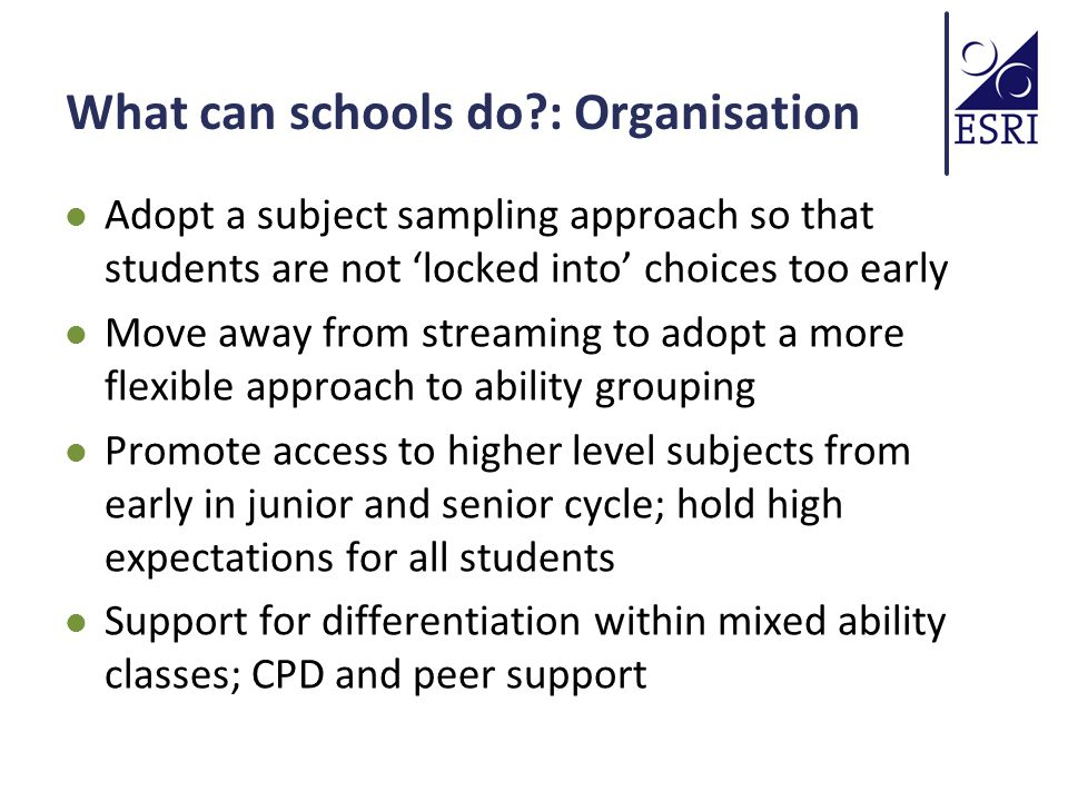 What can schools do : Organisation Adopt a subject sampling approach so that students are not 'locked into' choices too early Move away from streaming to adopt a more flexible approach to ability grouping Promote access to higher level subjects from early in junior and senior cycle; hold high expectations for all students Support for differentiation within mixed ability classes; CPD and peer support