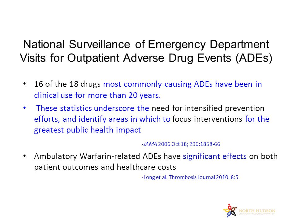 National Surveillance of Emergency Department Visits for Outpatient Adverse Drug Events (ADEs) 16 of the 18 drugs most commonly causing ADEs have been in clinical use for more than 20 years.