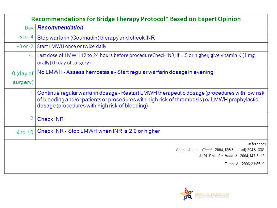 Recommendations for Bridge Therapy Protocol* Based on Expert Opinion Day Recommendation -5 to -4 Stop warfarin (Coumadin) therapy and check INR −3 or