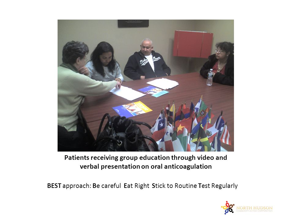 Patients receiving group education through video and verbal presentation on oral anticoagulation BEST approach: Be careful Eat Right Stick to Routine