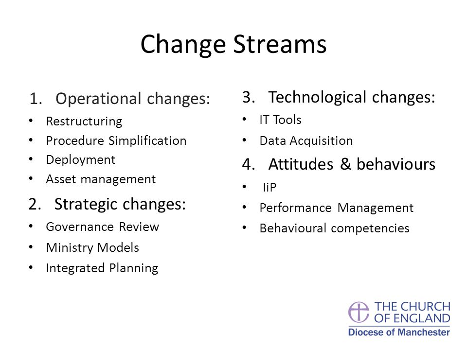 Change Streams 1.Operational changes: Restructuring Procedure Simplification Deployment Asset management 2.Strategic changes: Governance Review Ministry Models Integrated Planning 3.Technological changes: IT Tools Data Acquisition 4.Attitudes & behaviours IiP Performance Management Behavioural competencies