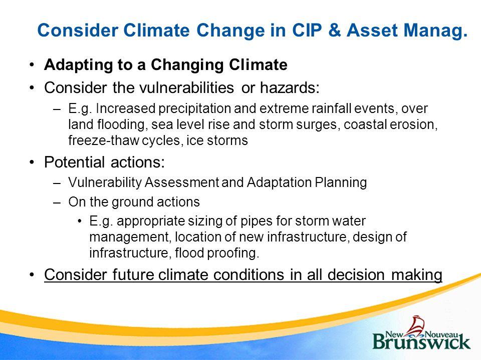 Consider Climate Change in CIP & Asset Manag.