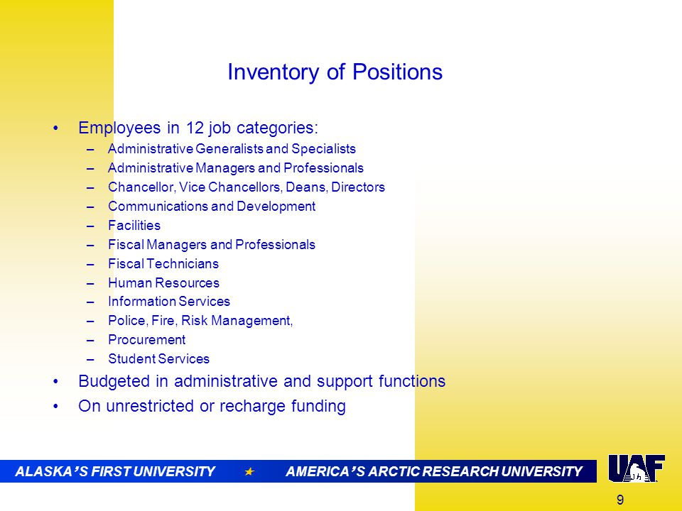 10 ALASKA ' S FIRST UNIVERSITY  AMERICA ' S ARCTIC RESEARCH UNIVERSITY UAF's Administrative Rate Trend