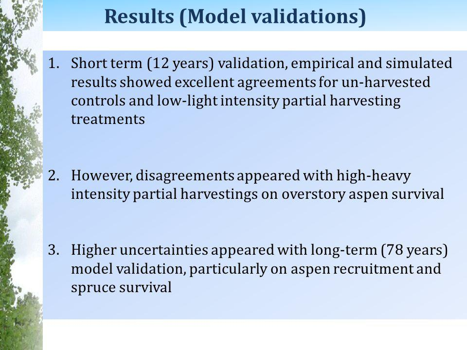 Results (Model validations) 1.Short term (12 years) validation, empirical and simulated results showed excellent agreements for un-harvested controls and low-light intensity partial harvesting treatments 2.However, disagreements appeared with high-heavy intensity partial harvestings on overstory aspen survival 3.Higher uncertainties appeared with long-term (78 years) model validation, particularly on aspen recruitment and spruce survival