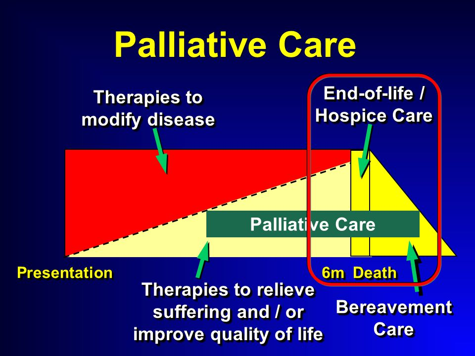 Palliative Care PresentationPresentationDeathDeath Therapies to modify disease Bereavement Care 6m6m End-of-life / Hospice Care Therapies to relieve suffering and / or improve quality of life Palliative Care