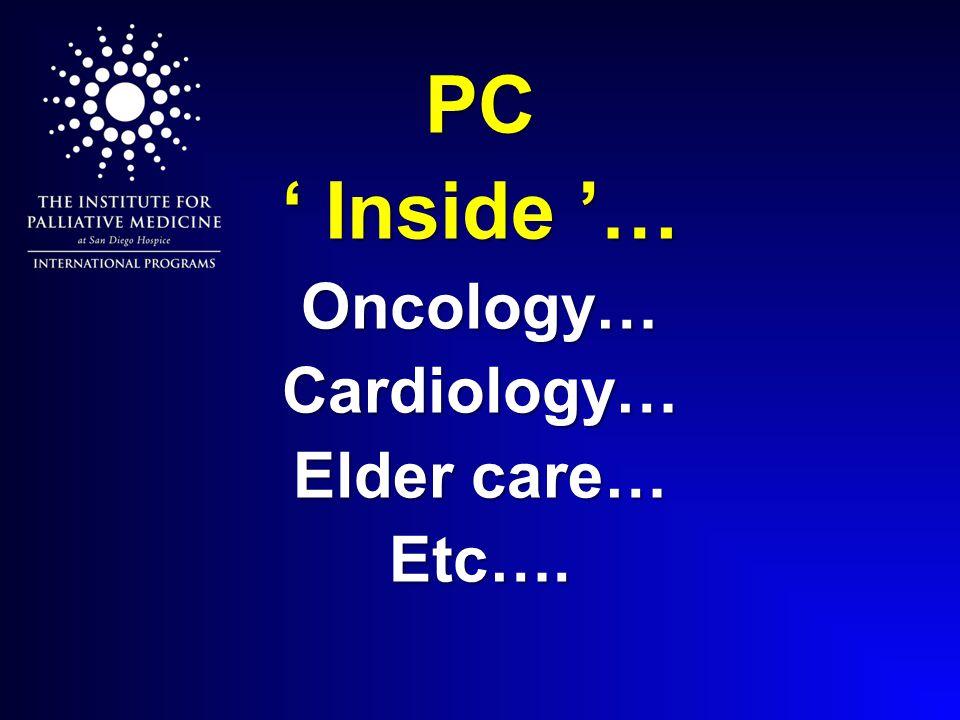 PC ' Inside '… Oncology… Cardiology… Elder care… Etc….