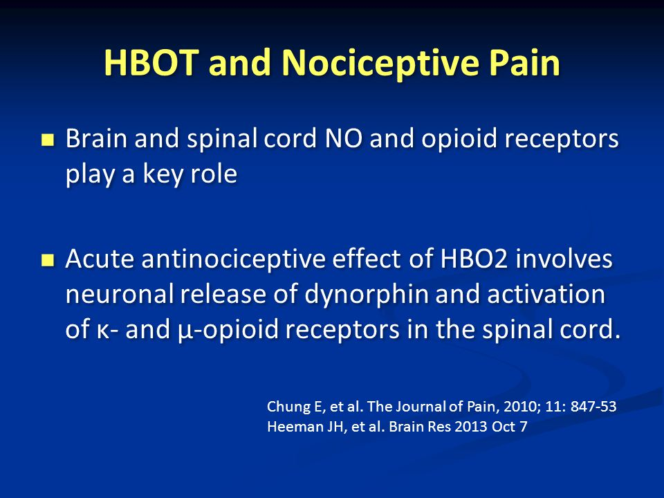 HBOT and Nociceptive Pain Brain and spinal cord NO and opioid receptors play a key role Acute antinociceptive effect of HBO2 involves neuronal release of dynorphin and activation of κ- and μ-opioid receptors in the spinal cord.