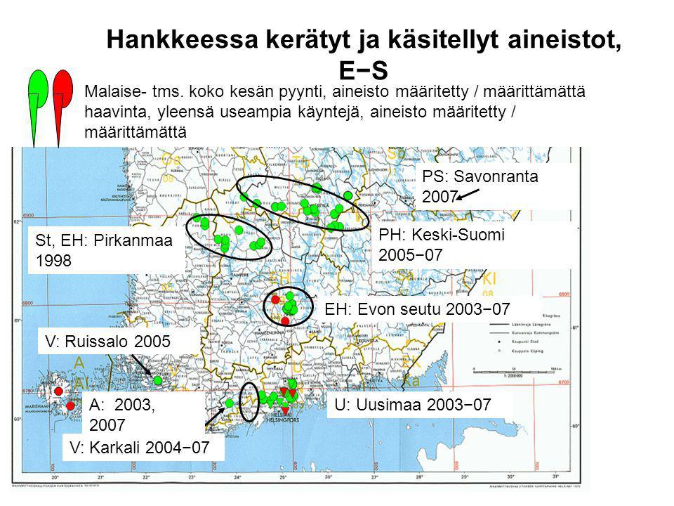 Hankkeessa kerätyt ja käsitellyt aineistot, E−S U: Uusimaa 2003−07 PH: Keski-Suomi 2005−07 EH: Evon seutu 2003−07 St, EH: Pirkanmaa 1998 V: Karkali 2004−07 V: Ruissalo 2005 PS: Savonranta 2007 A: 2003, 2007 Malaise- tms.