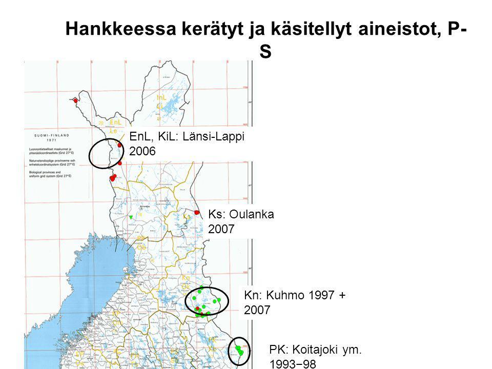 Hankkeessa kerätyt ja käsitellyt aineistot, P- S Kn: Kuhmo 1997 + 2007 PK: Koitajoki ym.