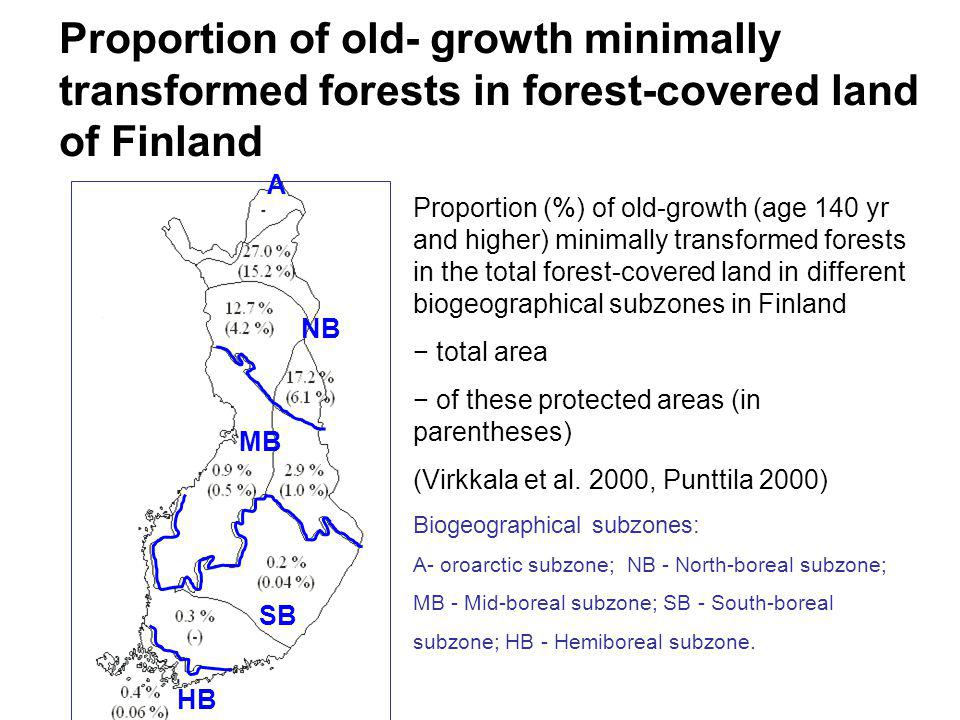 Proportion of old- growth minimally transformed forests in forest-covered land of Finland Proportion (%) of old-growth (age 140 yr and higher) minimally transformed forests in the total forest-covered land in different biogeographical subzones in Finland − total area − of these protected areas (in parentheses) (Virkkala et al.