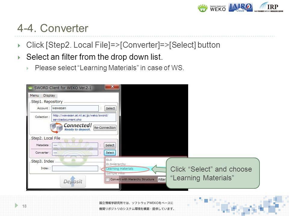 4-4. Converter 18  Click [Step2.