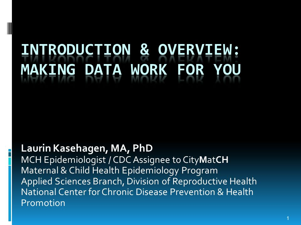 Laurin Kasehagen, MA, PhD MCH Epidemiologist / CDC Assignee to CityMatCH Maternal & Child Health Epidemiology Program Applied Sciences Branch, Division of Reproductive Health National Center for Chronic Disease Prevention & Health Promotion 1
