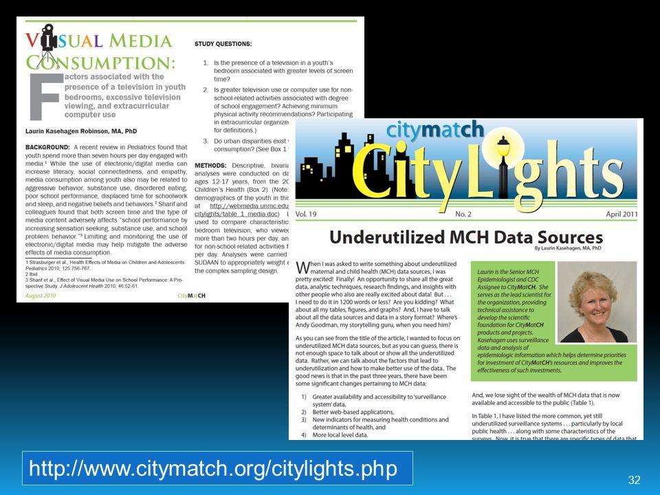 http://www.citymatch.org/citylights.php 32