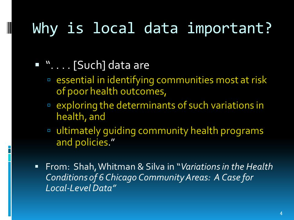 Misperceptions about local- level data  Not available  Not accessible  Too difficult to use  Don't have what I need 5