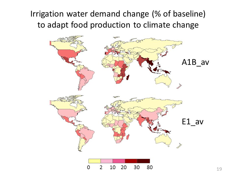 Irrigation water demand change (% of baseline) to adapt food production to climate change 0210203080 19 A1B_av E1_av