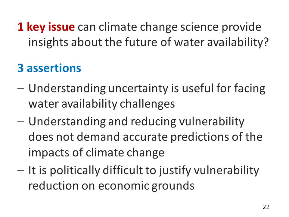1 key issue can climate change science provide insights about the future of water availability.