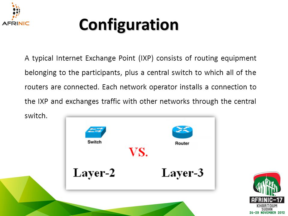 A typical Internet Exchange Point (IXP) consists of routing equipment belonging to the participants, plus a central switch to which all of the routers are connected.
