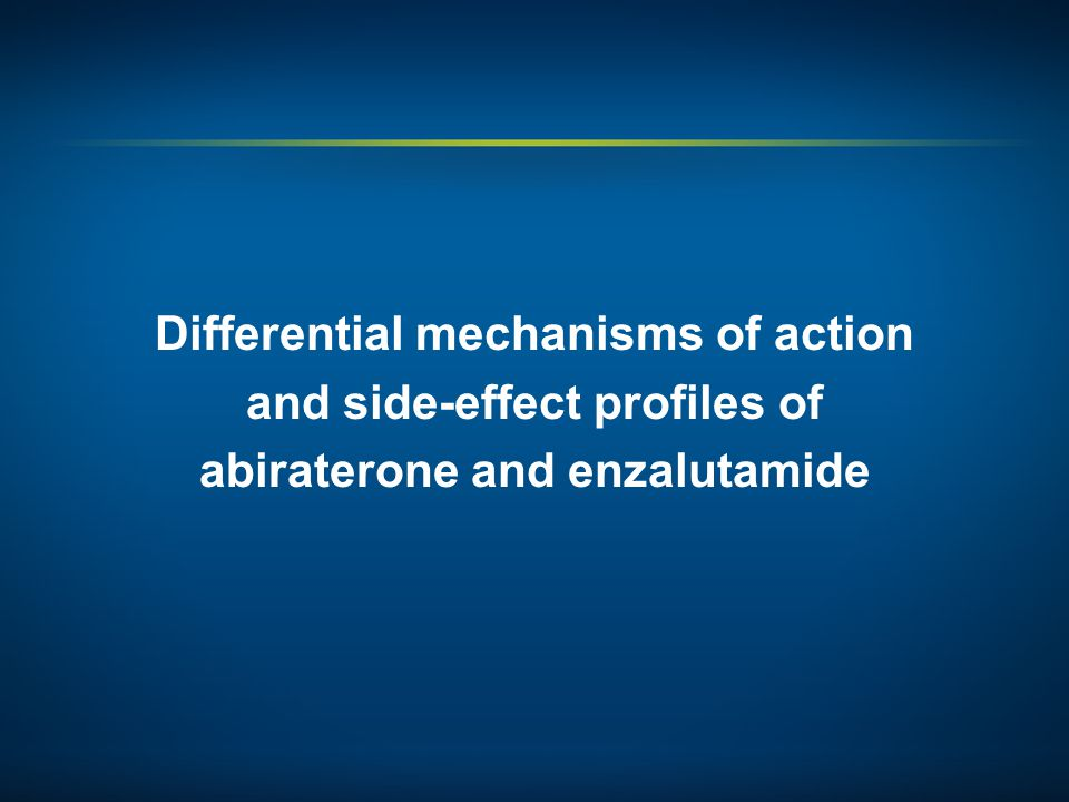 Differential mechanisms of action and side-effect profiles of abiraterone and enzalutamide