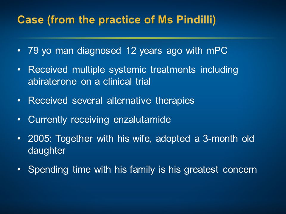 Case (from the practice of Ms Pindilli) 79 yo man diagnosed 12 years ago with mPC Received multiple systemic treatments including abiraterone on a clinical trial Received several alternative therapies Currently receiving enzalutamide 2005: Together with his wife, adopted a 3-month old daughter Spending time with his family is his greatest concern