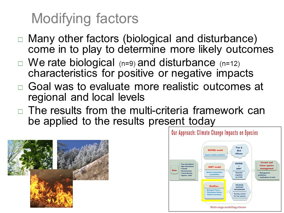 Modifying factors  Many other factors (biological and disturbance) come in to play to determine more likely outcomes  We rate biological (n=9) and d