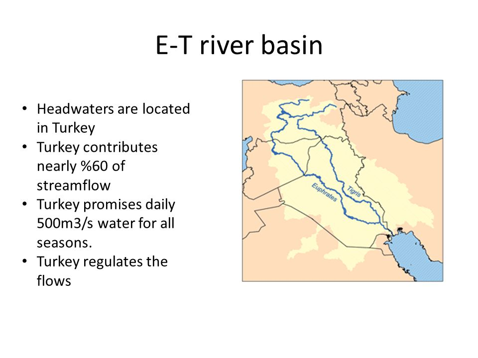 E-T river basin Headwaters are located in Turkey Turkey contributes nearly %60 of streamflow Turkey promises daily 500m3/s water for all seasons.