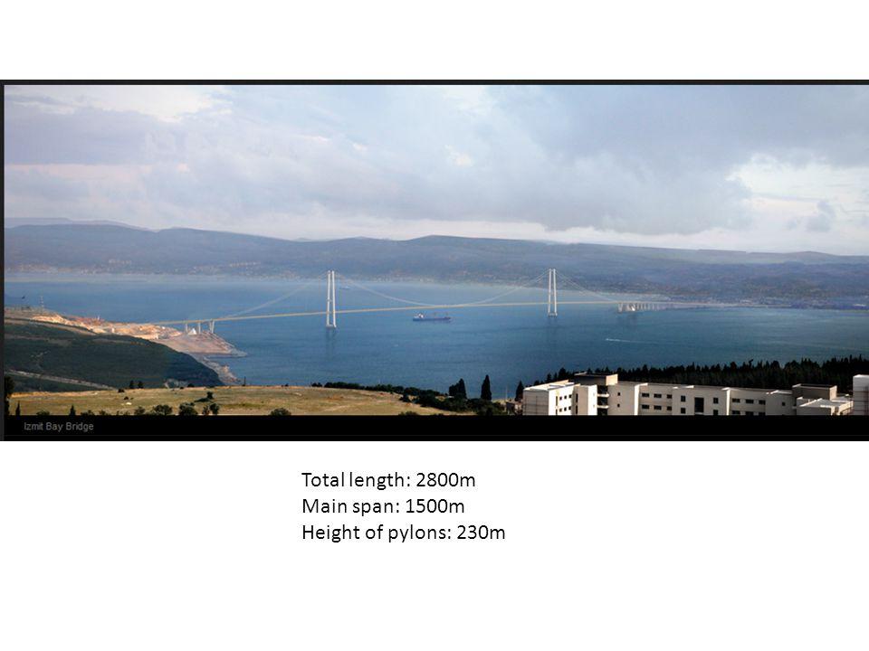 Total length: 2800m Main span: 1500m Height of pylons: 230m