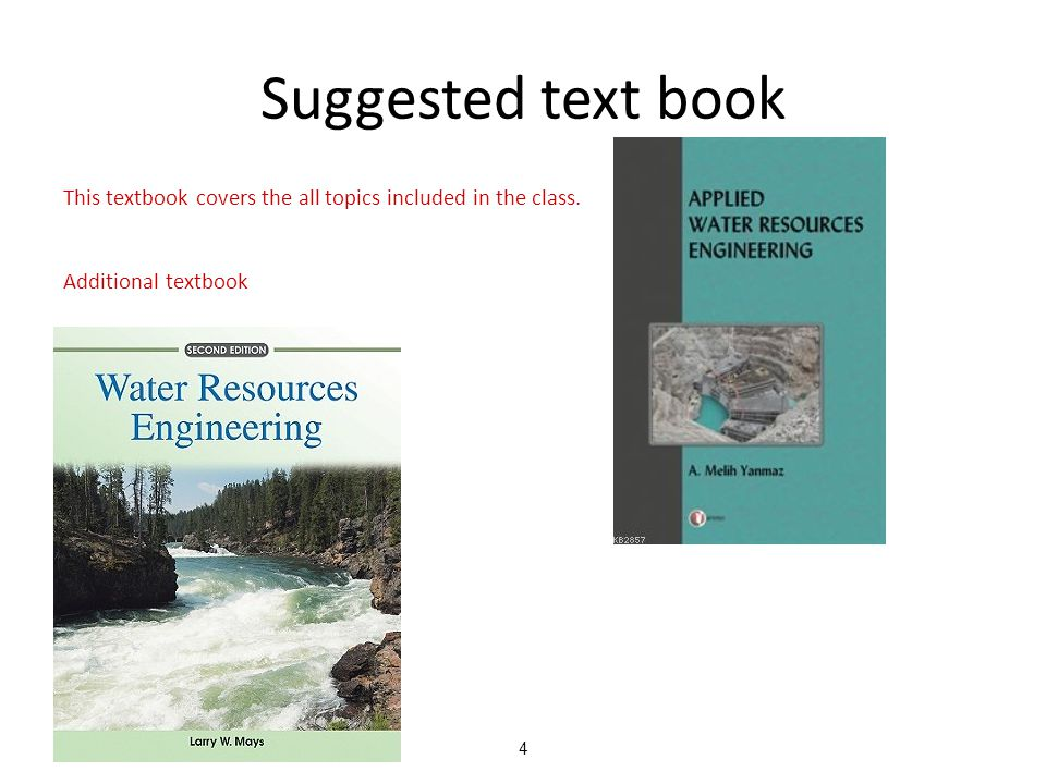4 Suggested text book This textbook covers the all topics included in the class.