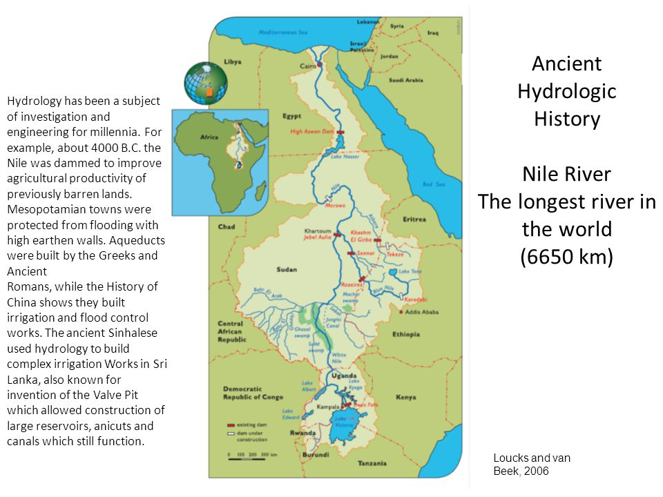 6 Ancient Hydrologic History Nile River The longest river in the world (6650 km) Loucks and van Beek, 2006 Hydrology has been a subject of investigation and engineering for millennia.