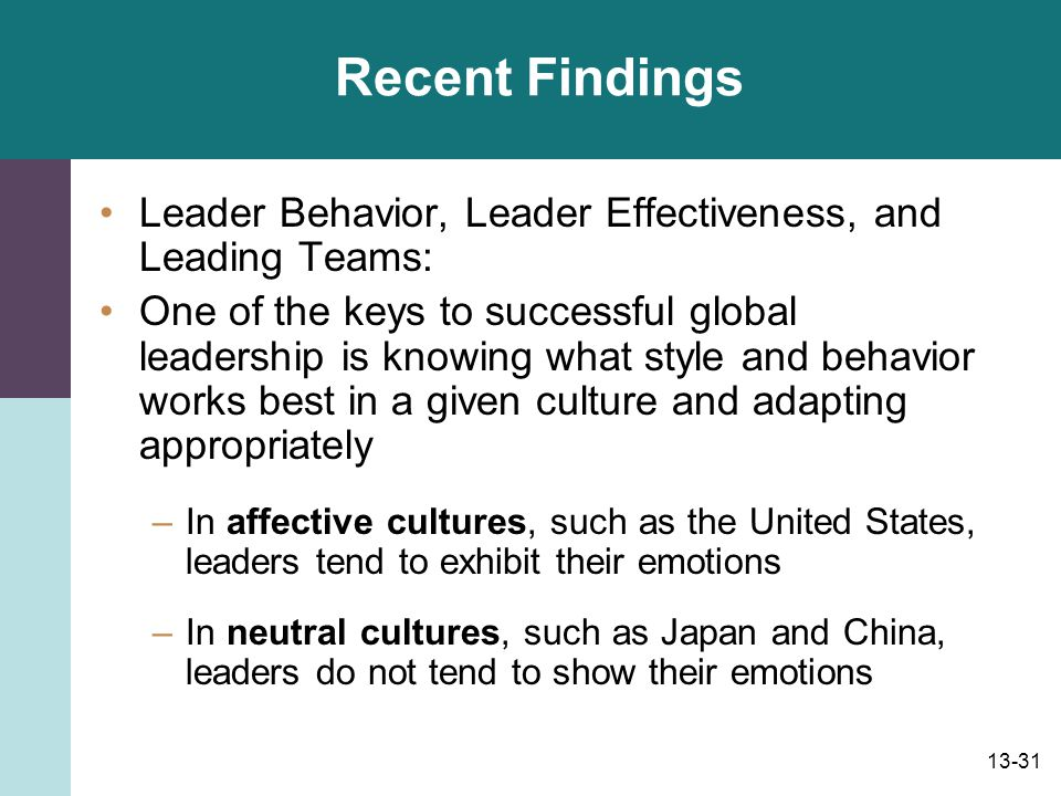 13-32 Doing Business in Affective and Neutral Countries: Leadership Tips