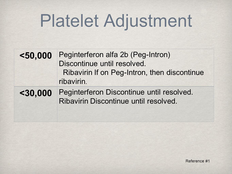 Platelet Adjustment <50,000 Peginterferon alfa 2b (Peg-Intron) Discontinue until resolved.