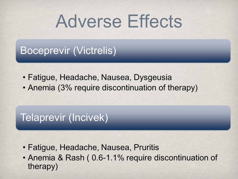 Boceprevir (Victrelis) Fatigue, Headache, Nausea, Dysgeusia Anemia (3% require discontinuation of therapy) Telaprevir (Incivek) Fatigue, Headache, Nausea, Pruritis Anemia & Rash ( 0.6-1.1% require discontinuation of therapy) Adverse Effects