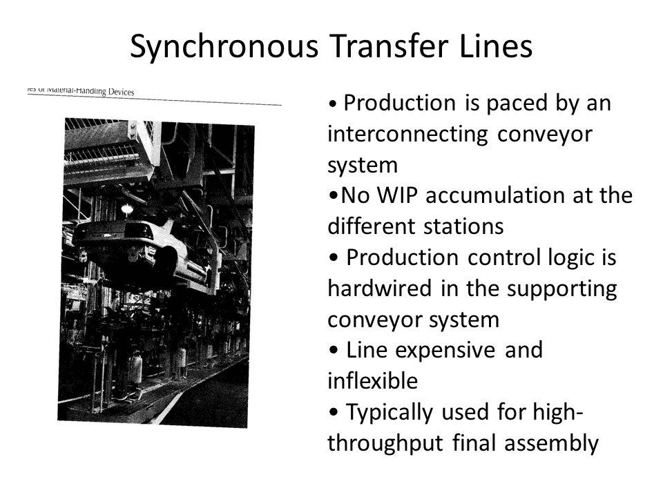 Synchronous Transfer Lines Production is paced by an interconnecting conveyor system No WIP accumulation at the different stations Production control logic is hardwired in the supporting conveyor system Line expensive and inflexible Typically used for high- throughput final assembly
