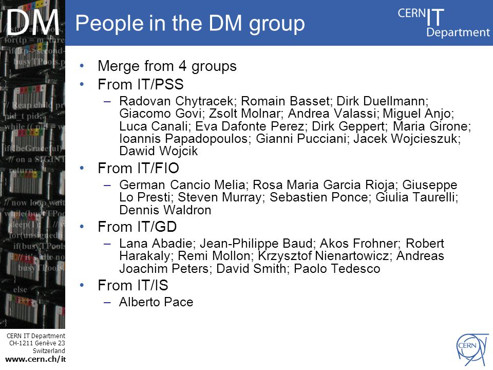 CERN IT Department CH-1211 Genève 23 Switzerland www.cern.ch/i t Questions ? / Discussion ?