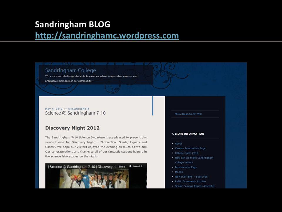 Sandringham BLOG http://sandringhamc.wordpress.com