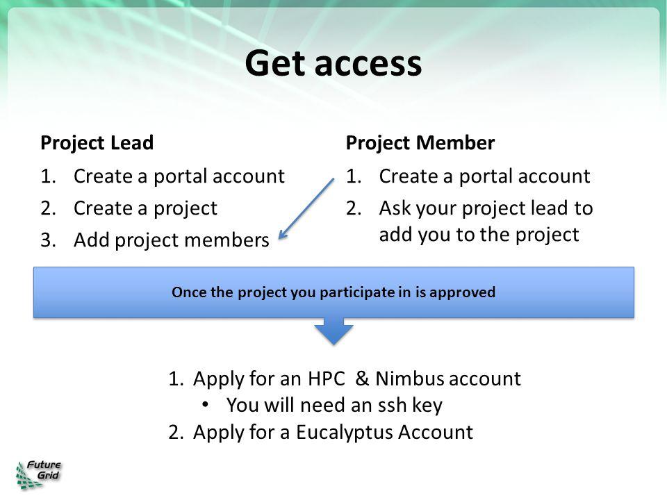 Get access Project Lead 1.Create a portal account 2.Create a project 3.Add project members Project Member 1.Create a portal account 2.Ask your project