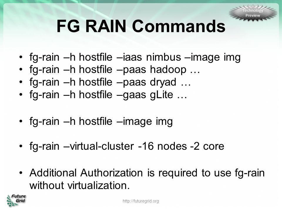 FG RAIN Commands fg-rain –h hostfile –iaas nimbus –image img fg-rain –h hostfile –paas hadoop … fg-rain –h hostfile –paas dryad … fg-rain –h hostfile