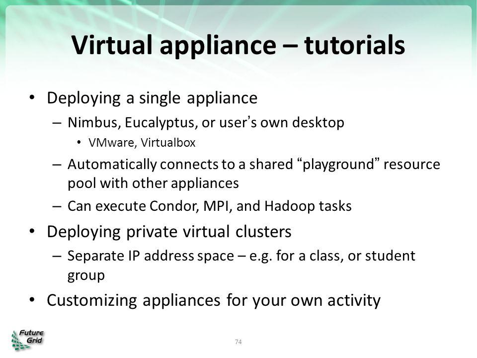 Virtual appliance – tutorials Deploying a single appliance – Nimbus, Eucalyptus, or user's own desktop VMware, Virtualbox – Automatically connects to