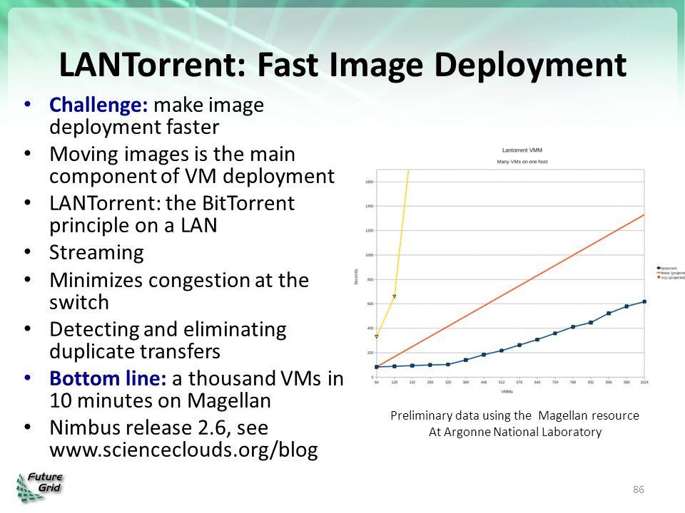 LANTorrent: Fast Image Deployment Challenge: make image deployment faster Moving images is the main component of VM deployment LANTorrent: the BitTorr