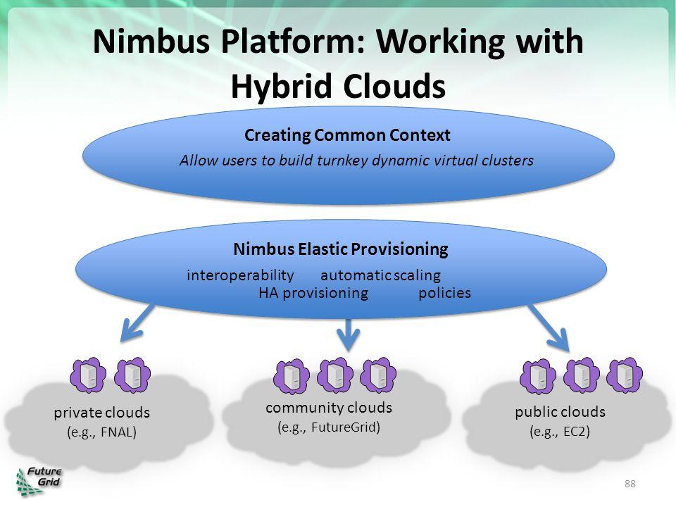 Nimbus Elastic Provisioning Creating Common Context Nimbus Platform: Working with Hybrid Clouds 88 private clouds (e.g., FNAL) private clouds (e.g., F