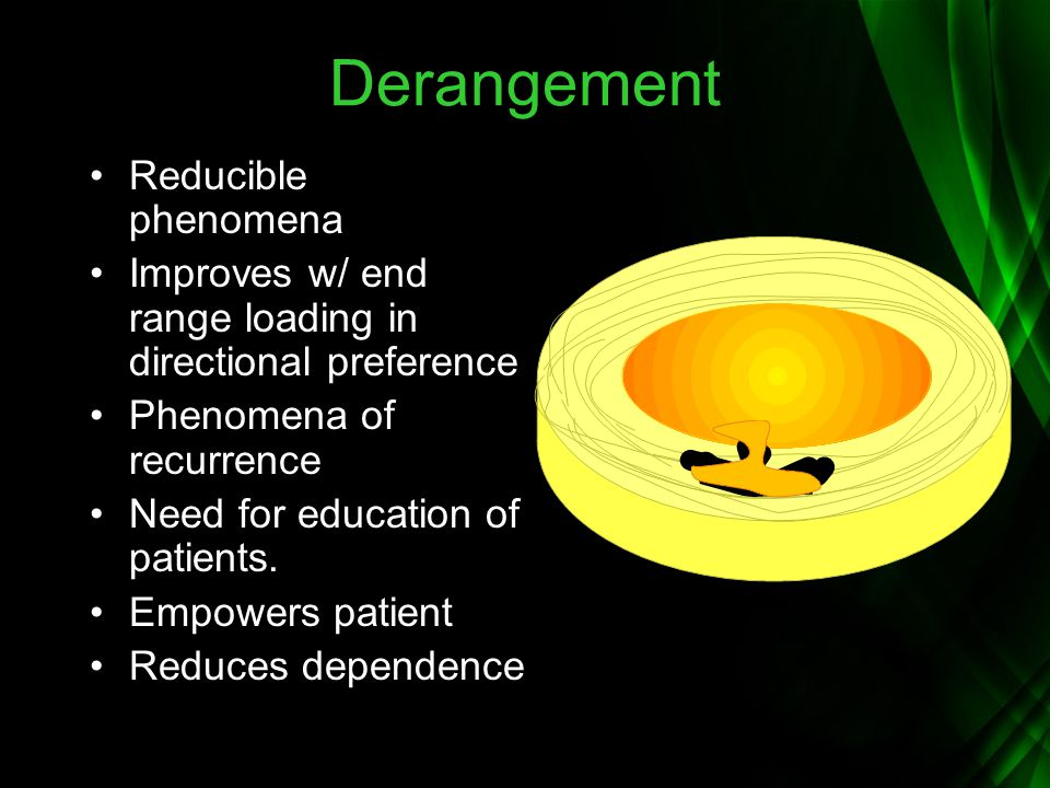 Derangement Reducible phenomena Improves w/ end range loading in directional preference Phenomena of recurrence Need for education of patients. Empowe