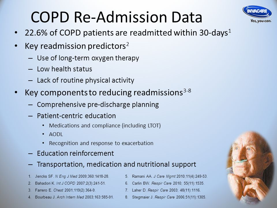 COPD Re-Admission Data 22.6% of COPD patients are readmitted within 30-days 1 Key readmission predictors 2 – Use of long-term oxygen therapy – Low health status – Lack of routine physical activity Key components to reducing readmissions 3-8 – Comprehensive pre-discharge planning – Patient-centric education Medications and compliance (including LTOT) AODL Recognition and response to exacerbation – Education reinforcement – Transportation, medication and nutritional support 1.Jencks SF.