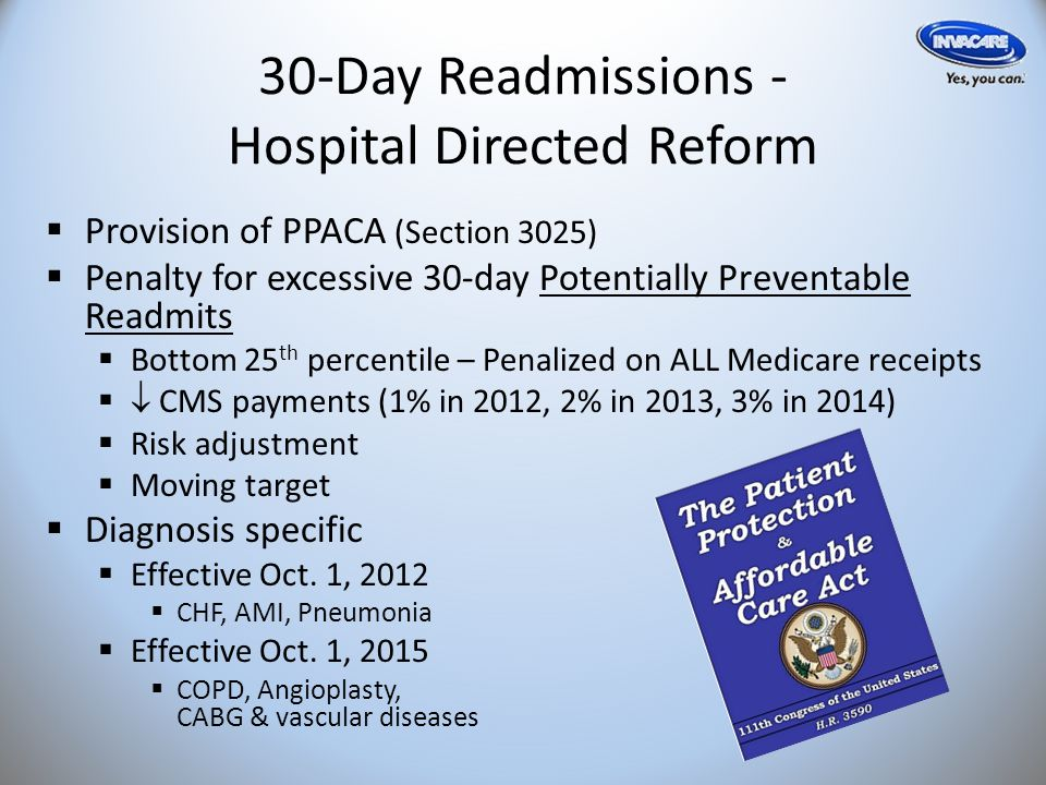 30-Day Readmissions - Hospital Directed Reform  Provision of PPACA (Section 3025)  Penalty for excessive 30-day Potentially Preventable Readmits  Bottom 25 th percentile – Penalized on ALL Medicare receipts   CMS payments (1% in 2012, 2% in 2013, 3% in 2014)  Risk adjustment  Moving target  Diagnosis specific  Effective Oct.