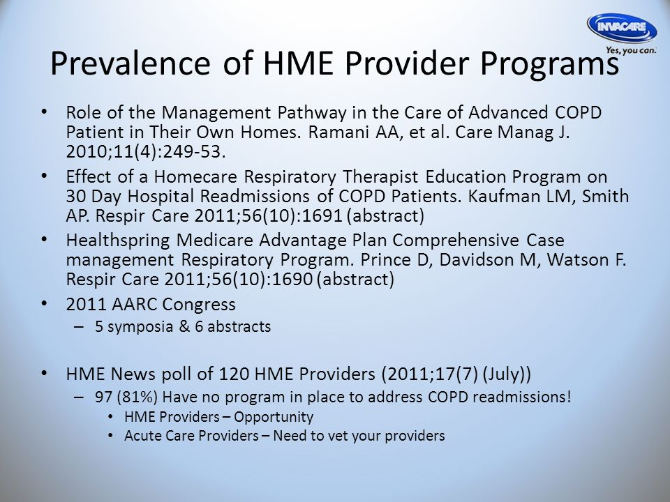 Prevalence of HME Provider Programs Role of the Management Pathway in the Care of Advanced COPD Patient in Their Own Homes.