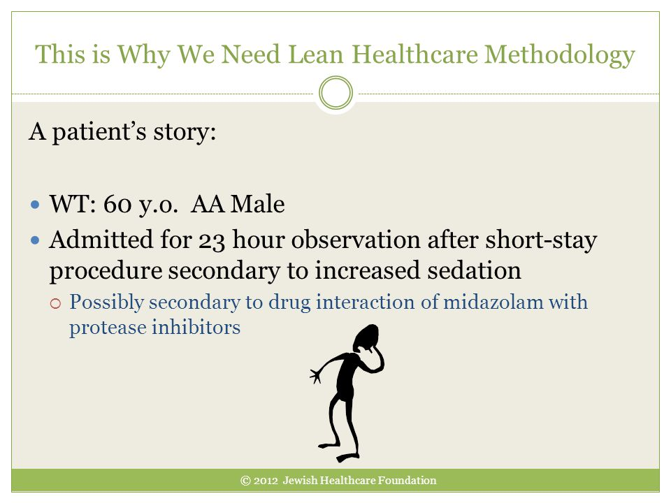 This is Why We Need Lean Healthcare Methodology © 2012 Jewish Healthcare Foundation A patient's story: WT: 60 y.o.